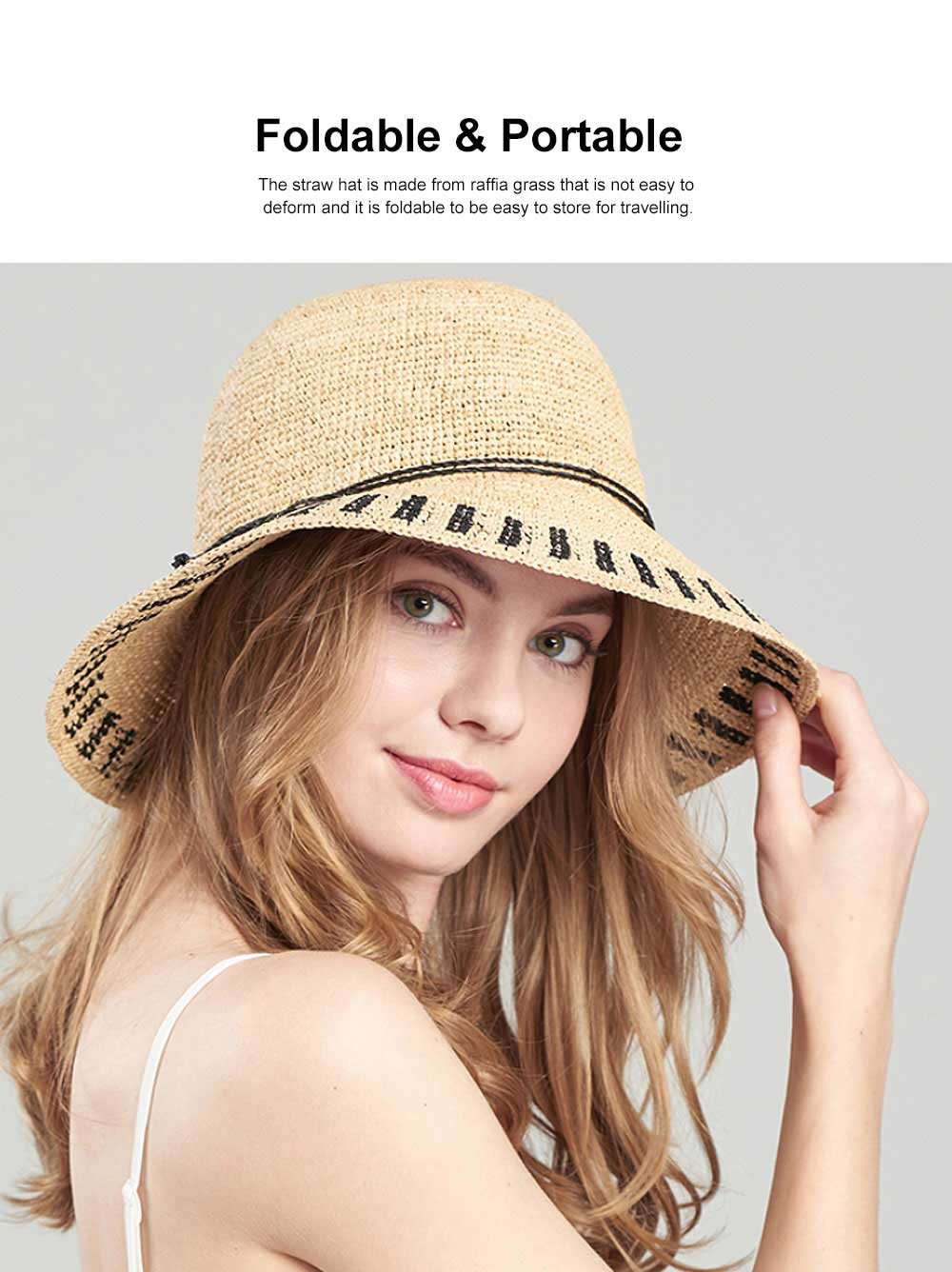 Summer Raffia Straw Hat for Women Large Brim Foldable Beach Hat All-match Sunscreen Bucket Cap Anti-UV Adumbral Cap 2