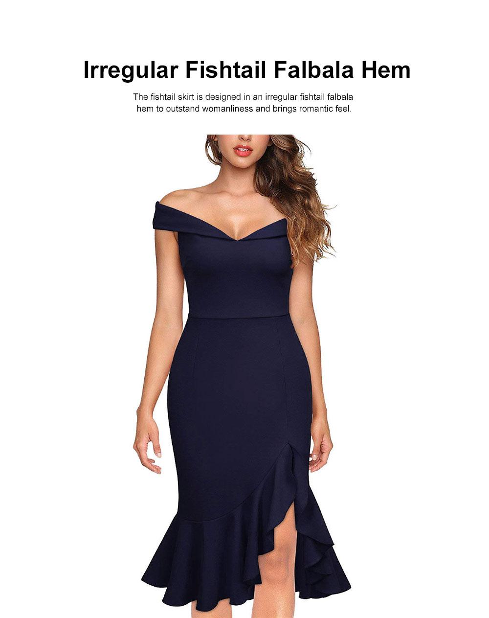 One-piece Women Evening Dress Formal Dress Sexy V Collar Off -shoulder Irregular Fishtail Skirt 2