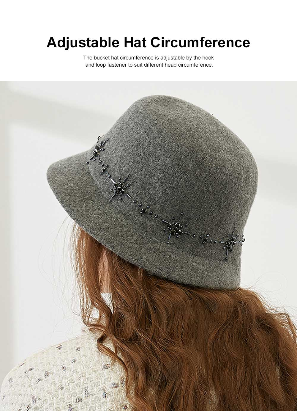 British Style Thermal Bucket Hat for Women Autumn Winter Wool-made Vintage Top Hat Round Top Revers Bowler Hat 1