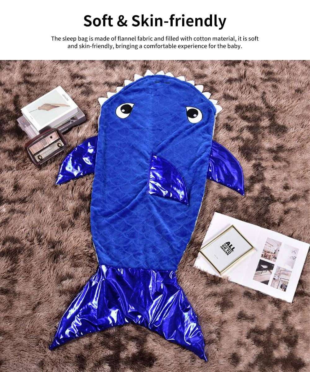Kids Shark Sleeping Bag Flannel Material Swaddling Cloth Anti Kick Quilt Wind Portable for Baby Bunting 1