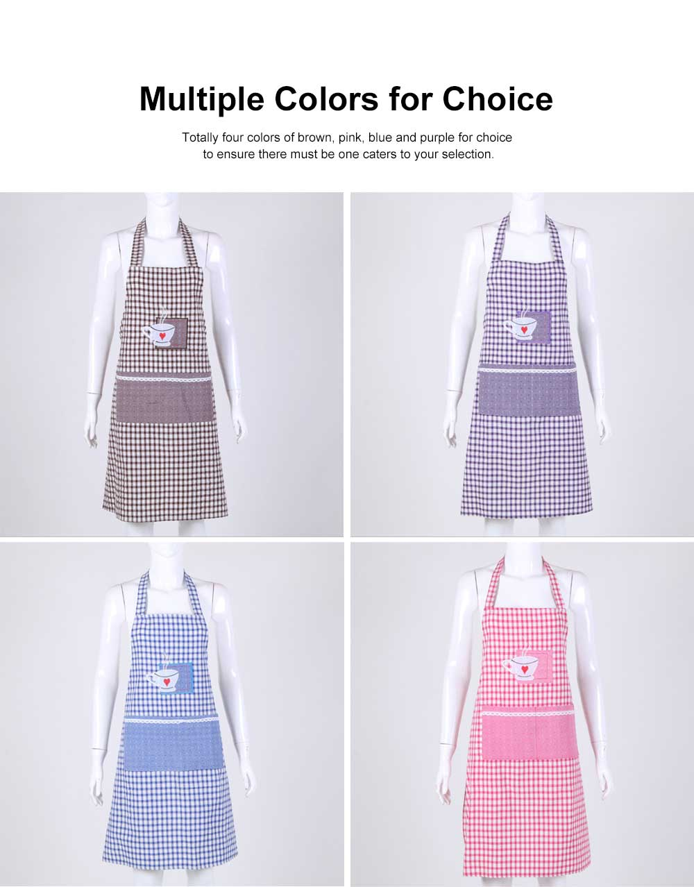 Embroidered Check Pattern Household Kitchen Apron Antifouling Waist Cloth Pinafore 2