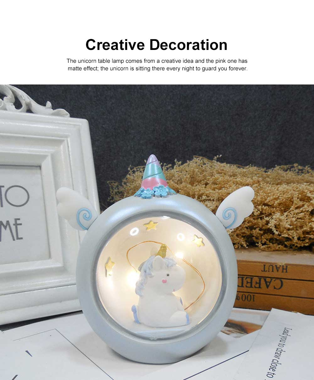 Unicorn Table Lamp Creative Resin Star Night-light Bedroom Decoration for Girl Students Use Round Table Lamp 1