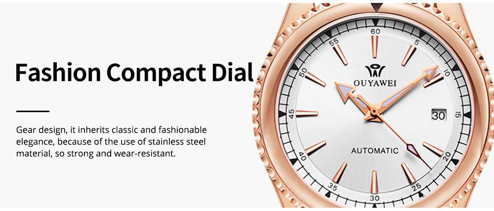 Man's Automatic Mechanical Watch Night Light Waterproof Business Hollow Steel Band Wristwatch, Swiss Wristwatch with Calendar 6