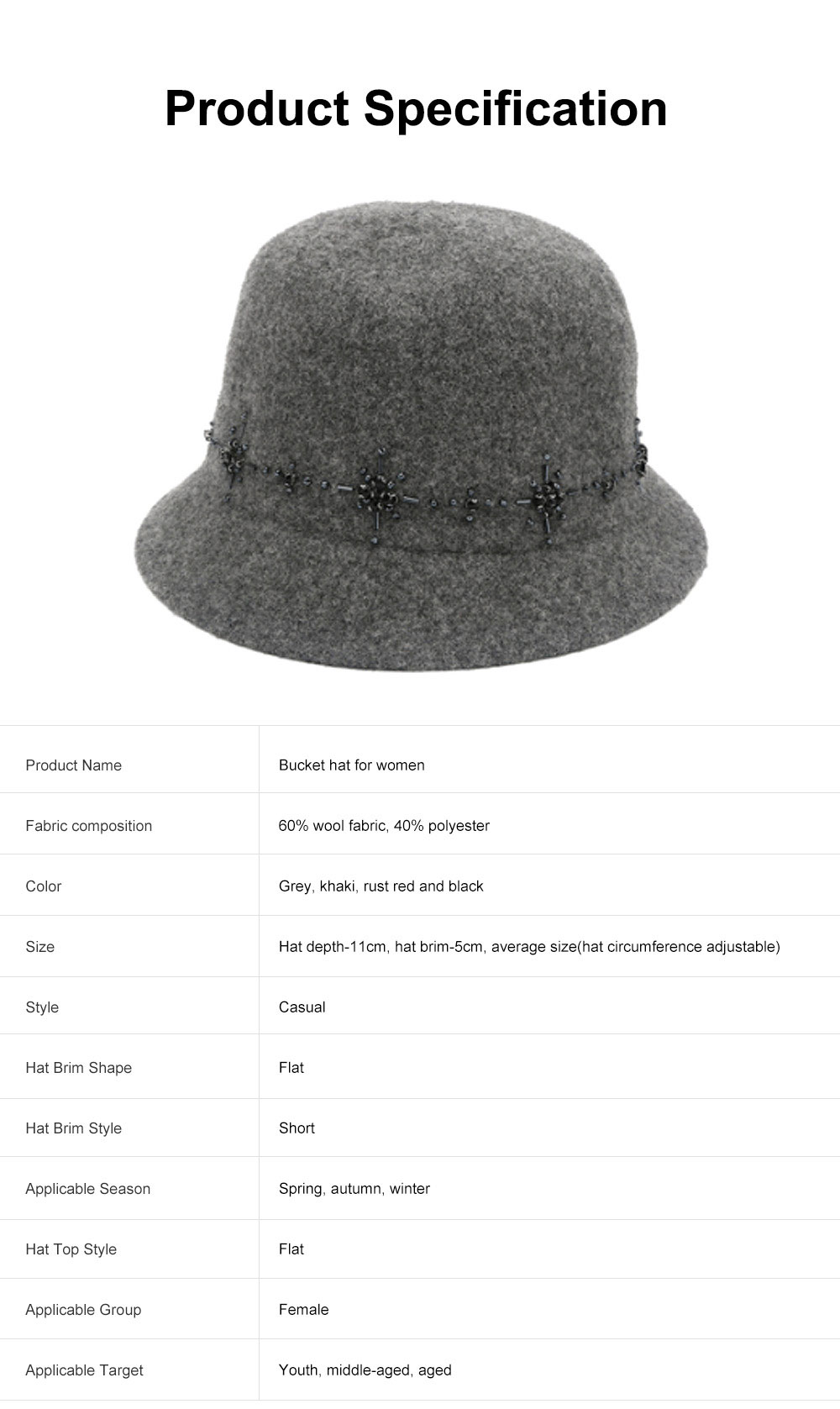 British Style Thermal Bucket Hat for Women Autumn Winter Wool-made Vintage Top Hat Round Top Revers Bowler Hat 6