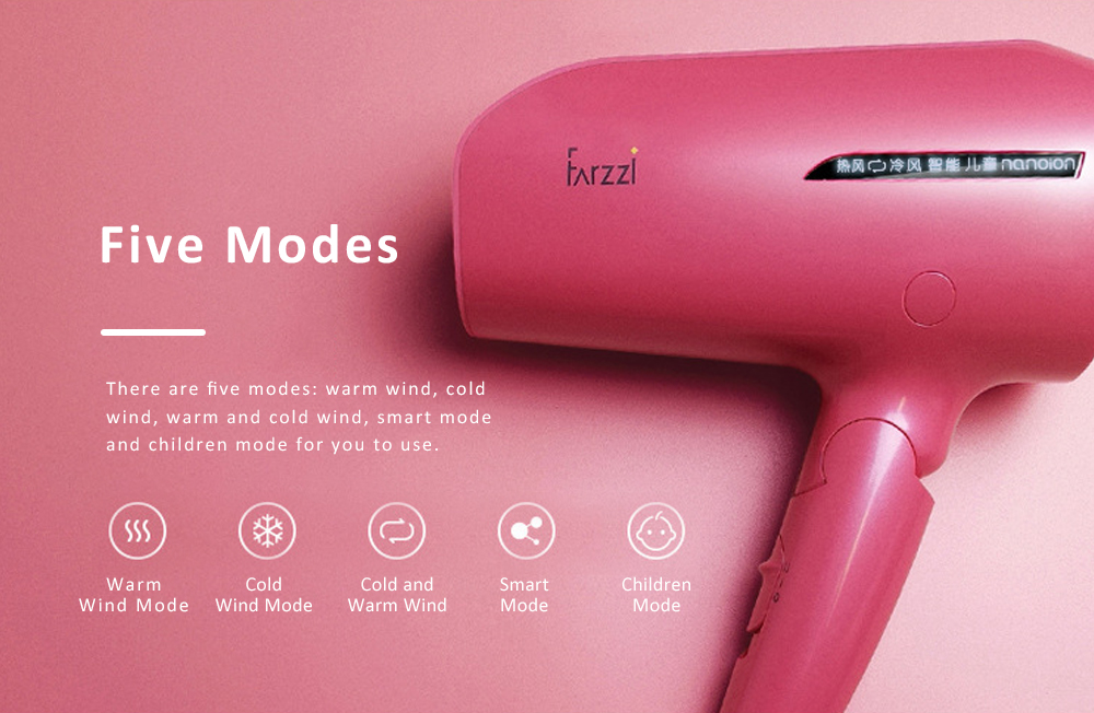 Water Ion Hair Dryer, Large Power Temperature Control Adjustment Quiet Electric Hair Drier with Moisturizing Cold & Warm Wind 4