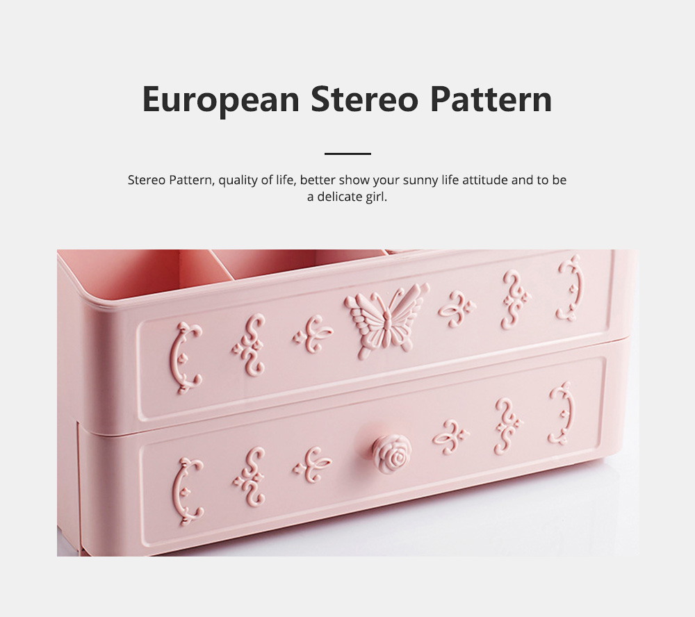 Cosmetic Storage Box with European Stereo Pattern, Dustproof Makeup Organizer with Cover for Skin Care Products 4
