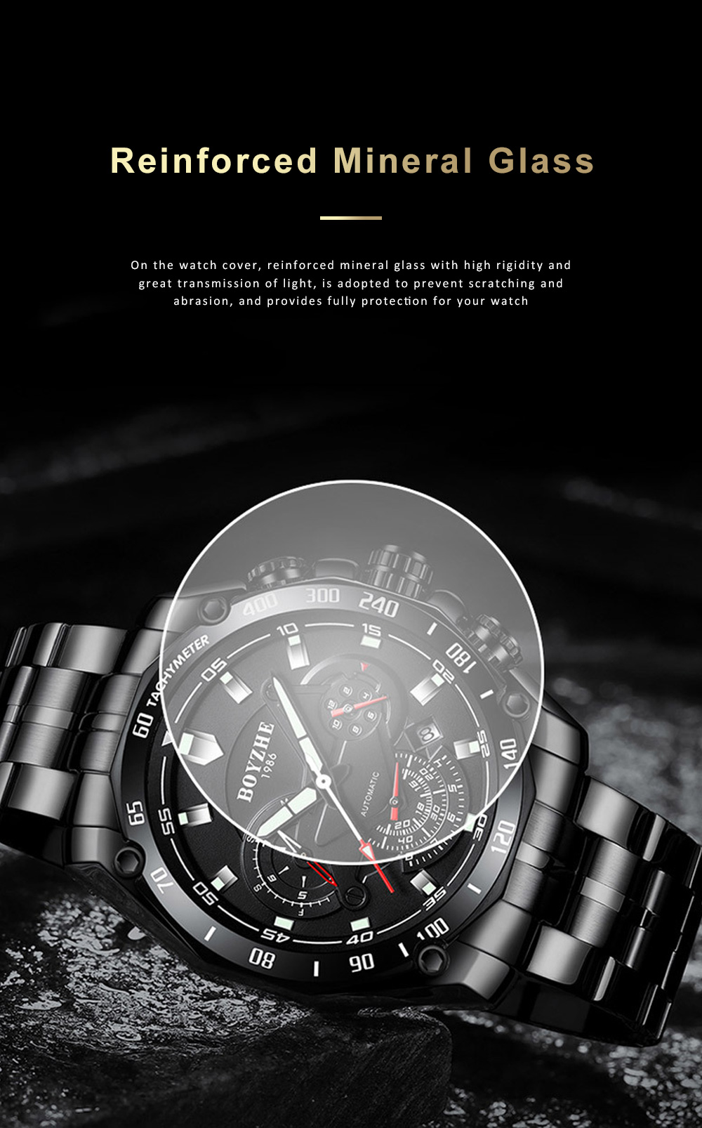 Automatic Mechanical Watch for Businessman, Stainless Steel Watchband Fashion Watch, Waterproof Sports Wrist Watch 7