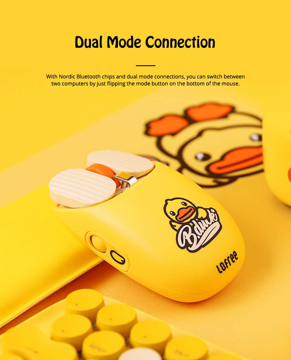 LOFREE Dual Mode Yellow Duck Bluetooth Mouse with 5-level Adjustable DPI Up to 3600, Yellow Duck Cartoon Wireless Mouse 4