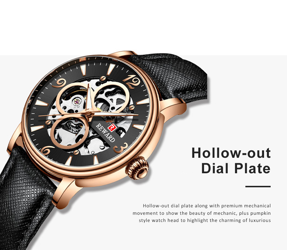 Businessman Mechanical Watch with Genuine Leather Watch Strap, Waterproof Hollow-out Bottom Cover Automatic Mechanic Men's Watch 3