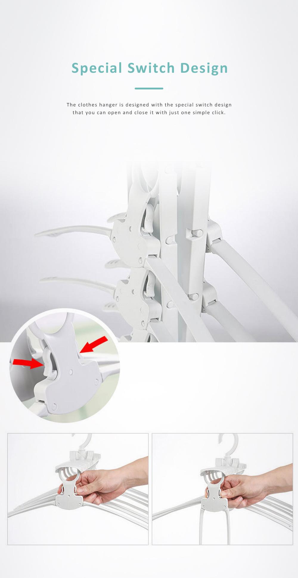 3 Pack Foldable Plastic Clothes Hanger, Multi-functional Flexible Clothes Rack Storage Set Anti-slip Wind-proof 4