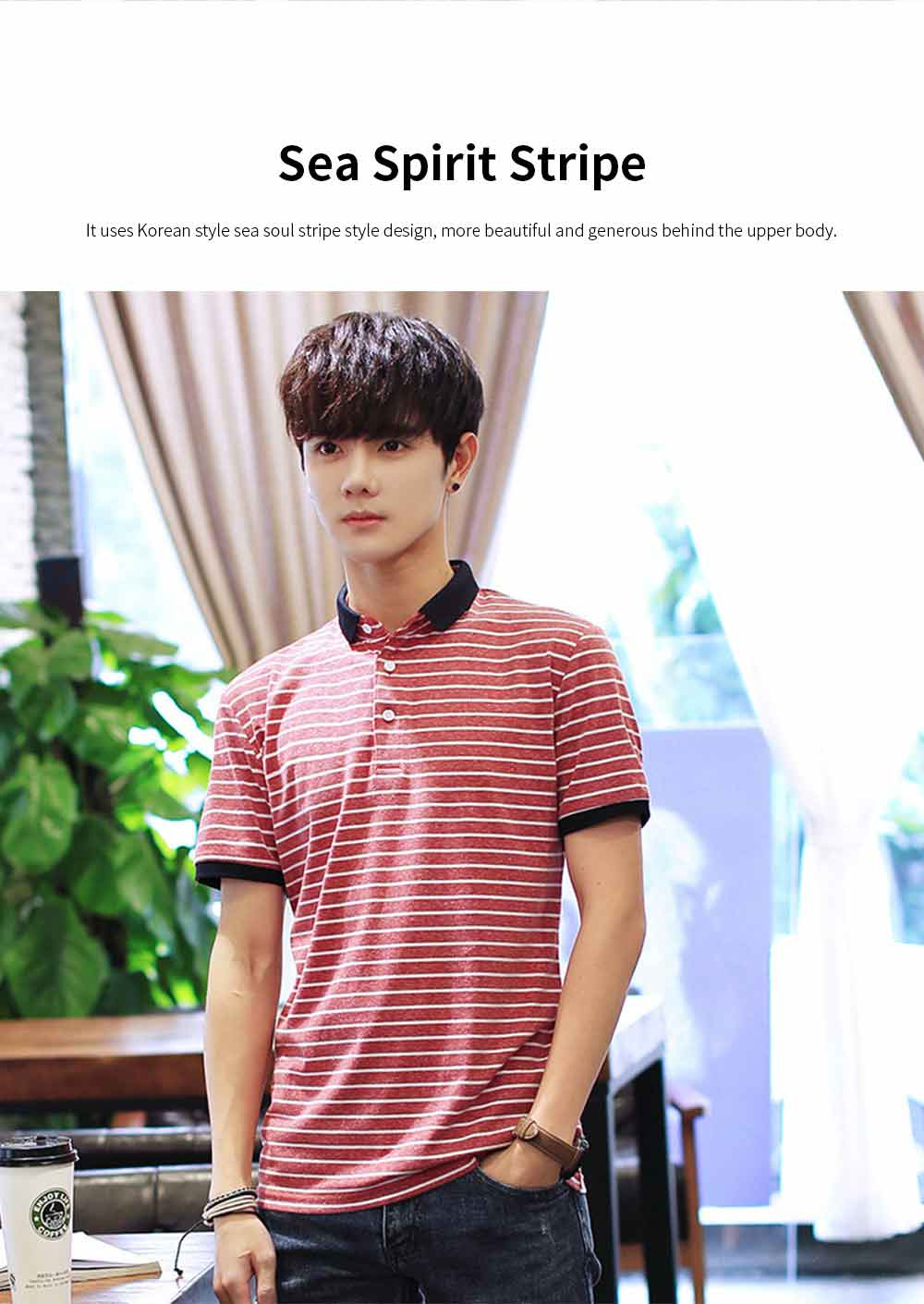 Men's Casual Short-Sleeved Polo Shirt Korean-Style Fashionable Striped Shirt For Summer 2