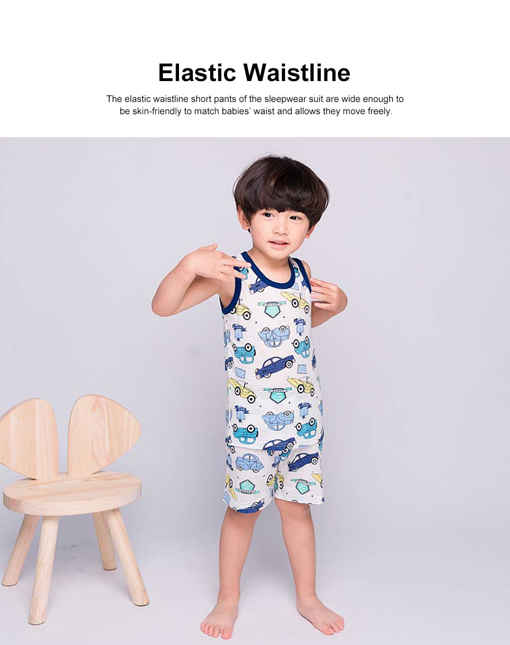 Pure Cotton Sleepwear Suit with Cartoon Patterns for Children, Summer Unisex Loungewear & Pajamas Short Sleeve Underwear Suit for Boys Girls 3