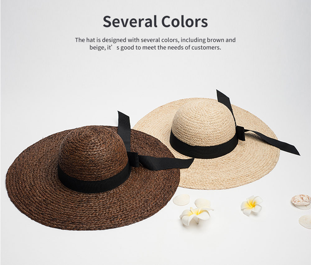 Lightweight Raffia Hat Breathable Topper Fashionable Bow Knot Sunhat Sunscreen for Women Beach Outside Activities Cap 5