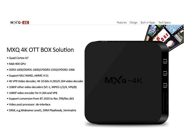 MXQ-4K H3 Android 7.1 TV Box 2GB 16GB Quad Core 4K Wifi Bluetooth H.265 Smart Set Top MXQ Box Network Player Kodi Google  4