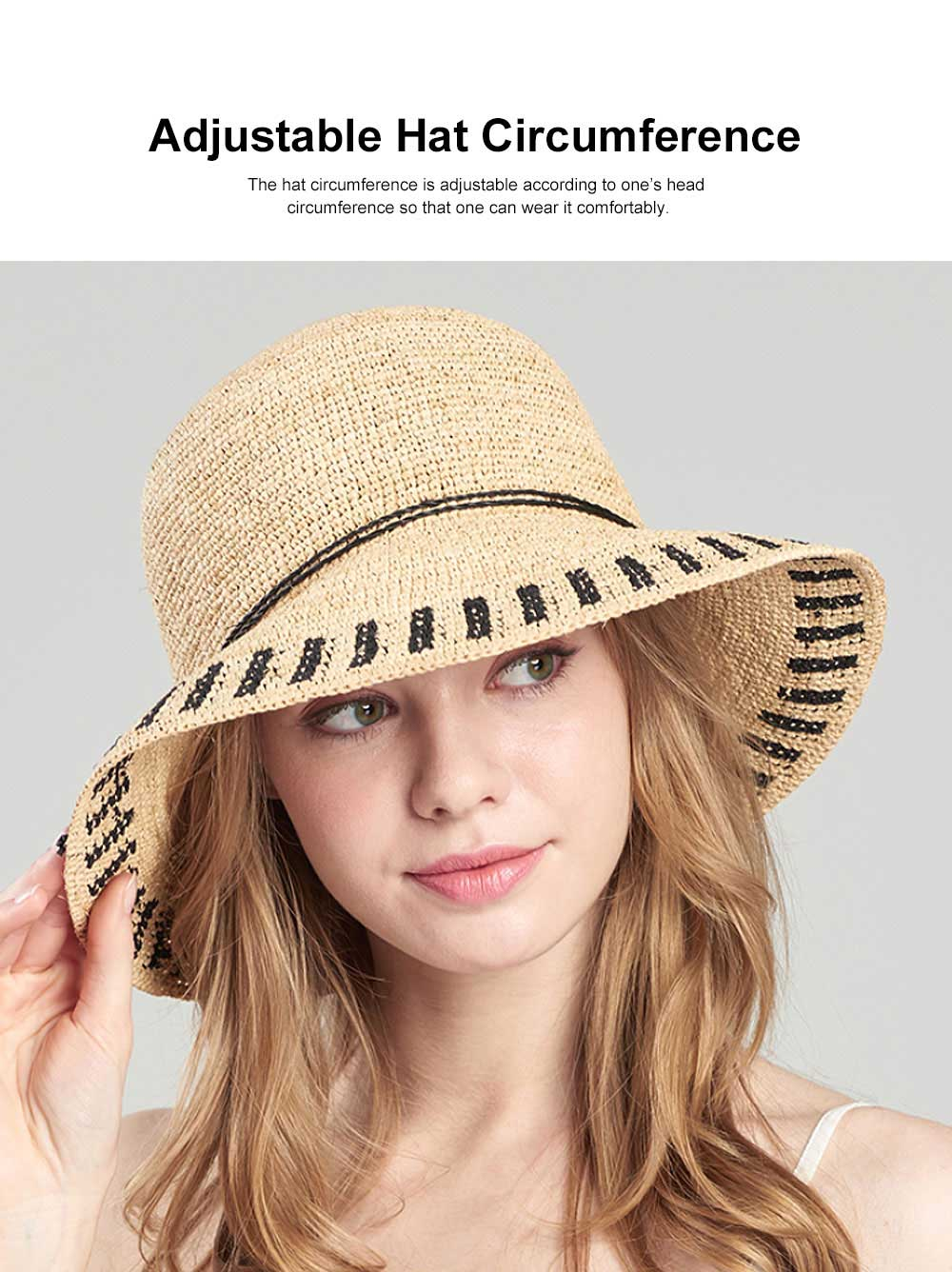 Summer Raffia Straw Hat for Women Large Brim Foldable Beach Hat All-match Sunscreen Bucket Cap Anti-UV Adumbral Cap 3