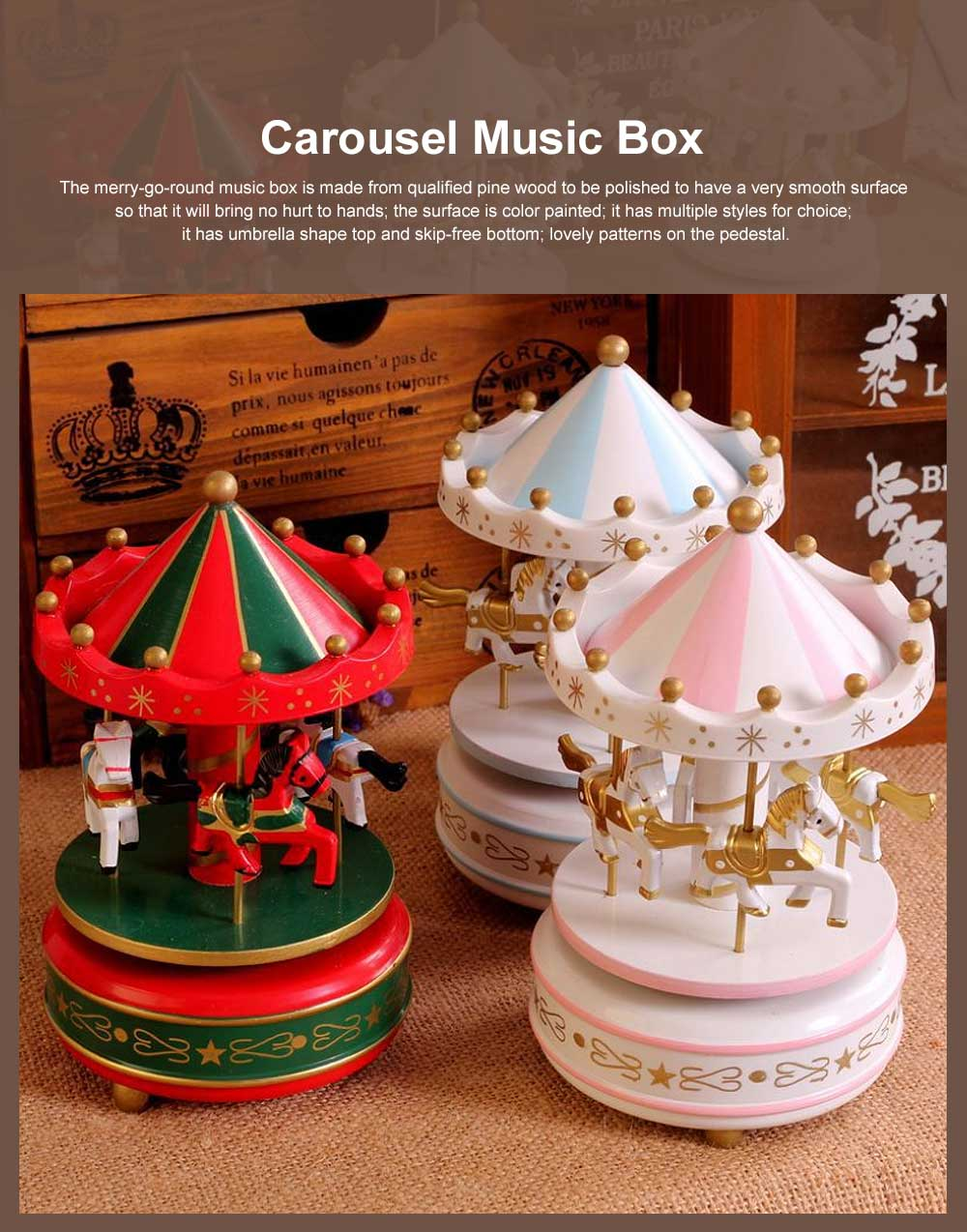 Wood-made Carousel Music Box Multiple Style Whirling Musical Box Gift or Decorative Ornaments for Household Use Craft 0