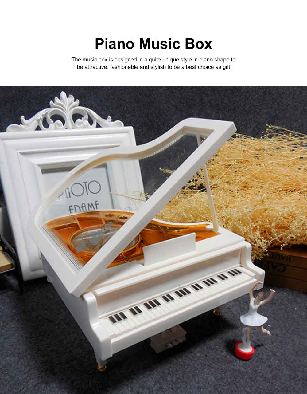 Creative Ballet Rotating Piano Music Box Christmas Gift or Valentine's Day Presemt Piano with Dancing Ballet Girl 1