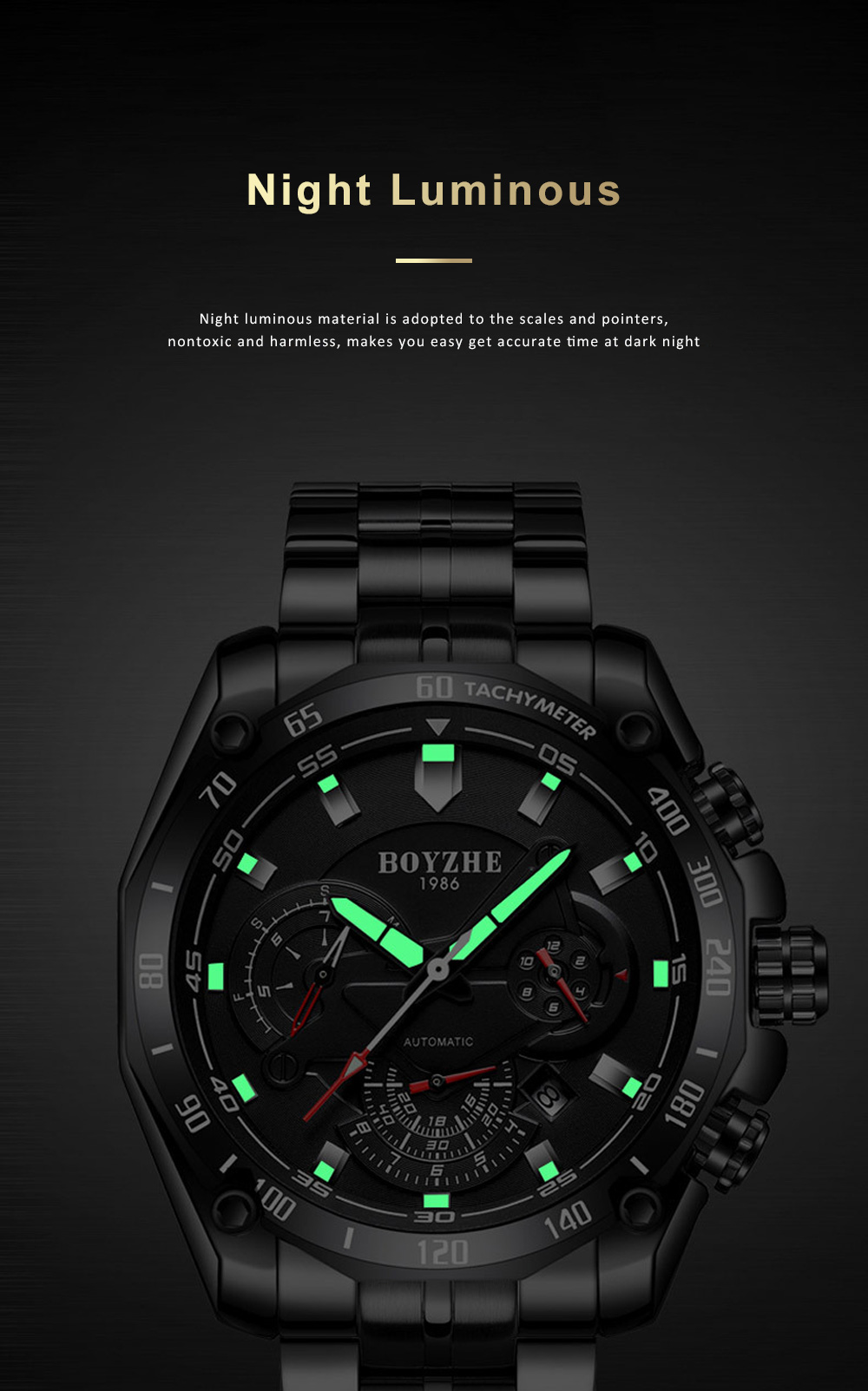 Automatic Mechanical Watch for Businessman, Stainless Steel Watchband Fashion Watch, Waterproof Sports Wrist Watch 5