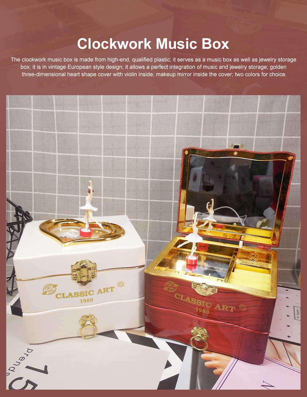 Classic Retro Style Dancing Girl Musical Box as Gift for Children or Girls, Clockwork Musical Box Creative Storage Box with Playing Music Jewelry 0