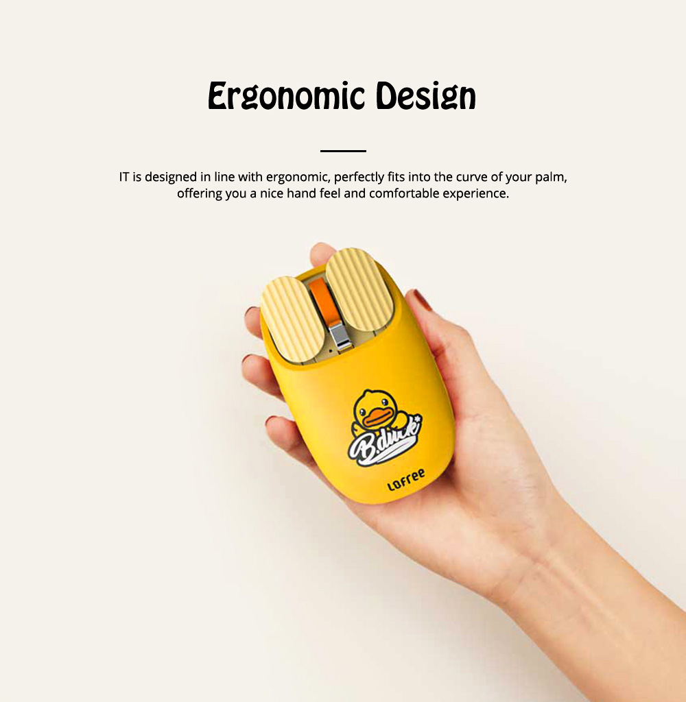 LOFREE Dual Mode Yellow Duck Bluetooth Mouse with 5-level Adjustable DPI Up to 3600, Yellow Duck Cartoon Wireless Mouse 1