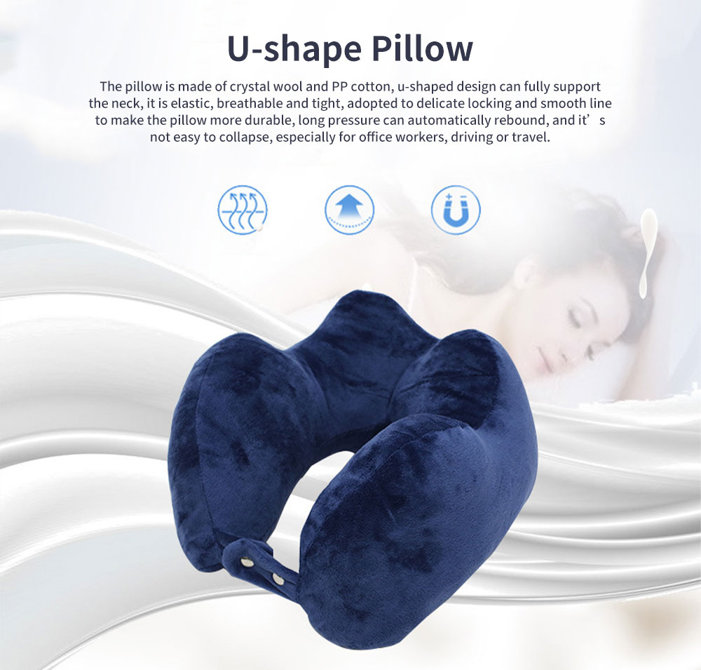 Soft Breathable U-shape Pillow Cotton PP Material Soft Elastics Cervical Pillow for Office Staff Driver U Shape Breathable Bolster 0