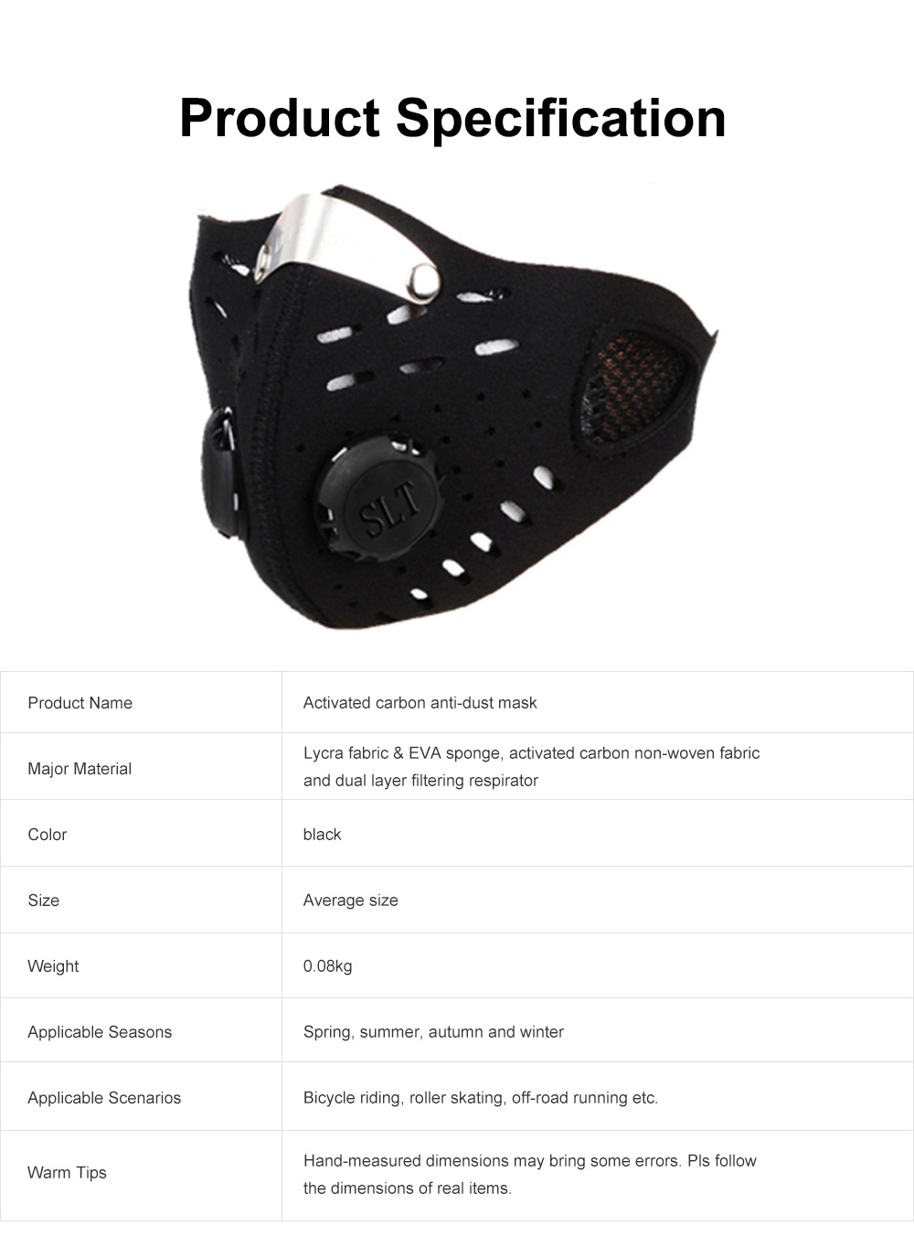 Activated Carbon Facial Mask for Outdoor Bicycle Riding Filter Element Replaceable Mouth-muffle Nose Clamp Design Anti-dust & Anti-smog Respirator 6