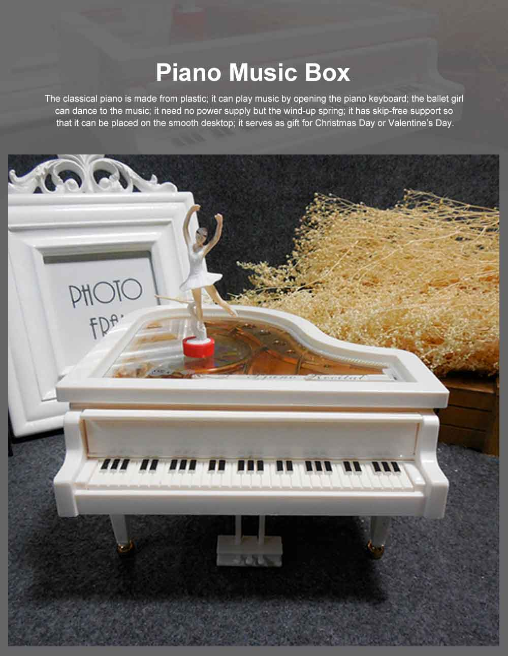 Creative Ballet Rotating Piano Music Box Christmas Gift or Valentine's Day Presemt Piano with Dancing Ballet Girl 0