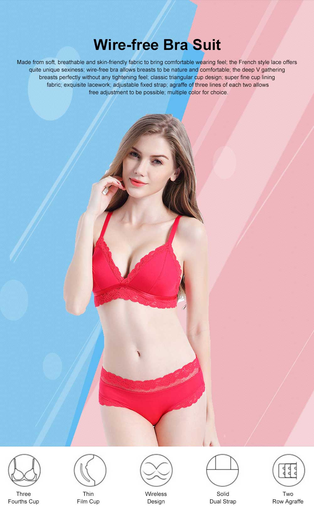 Underwear Set Thin Style Triangular Cup No Steel Rims Small Size Breast Gathering Sexy Underwear Traceless Spring Summer Bra 0
