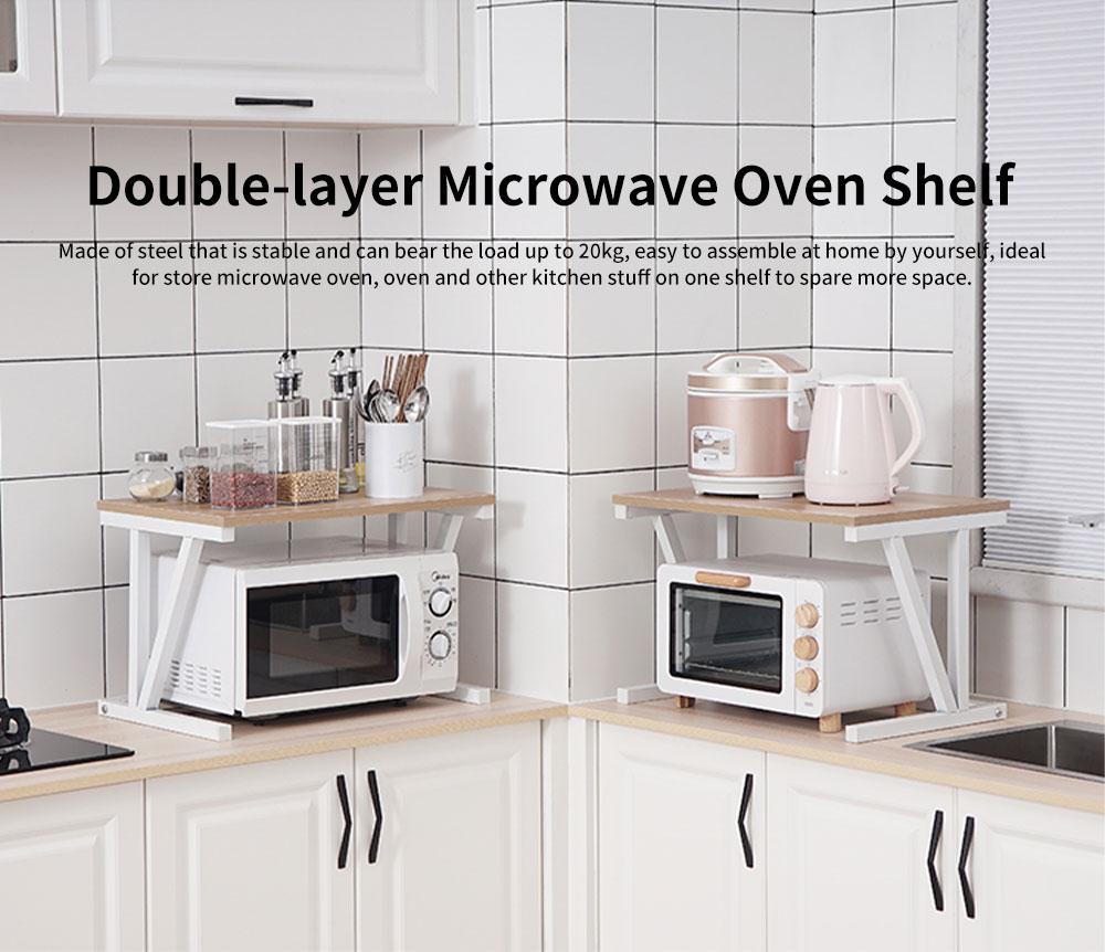Double-layer Microwave Oven Shelf Multifunctional Rack Stand Cabinet Shelf Storage Organizer 0