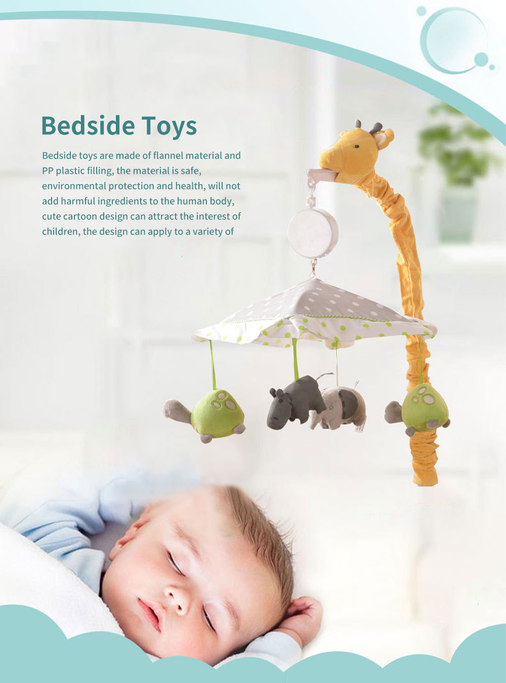 Giraffe Music Bed Bell Bedside Toys Flannel PP Material Cartoon Modeling Giraffe Pendant Healthy for Baby Rattles Soft Baby Mobiles 0