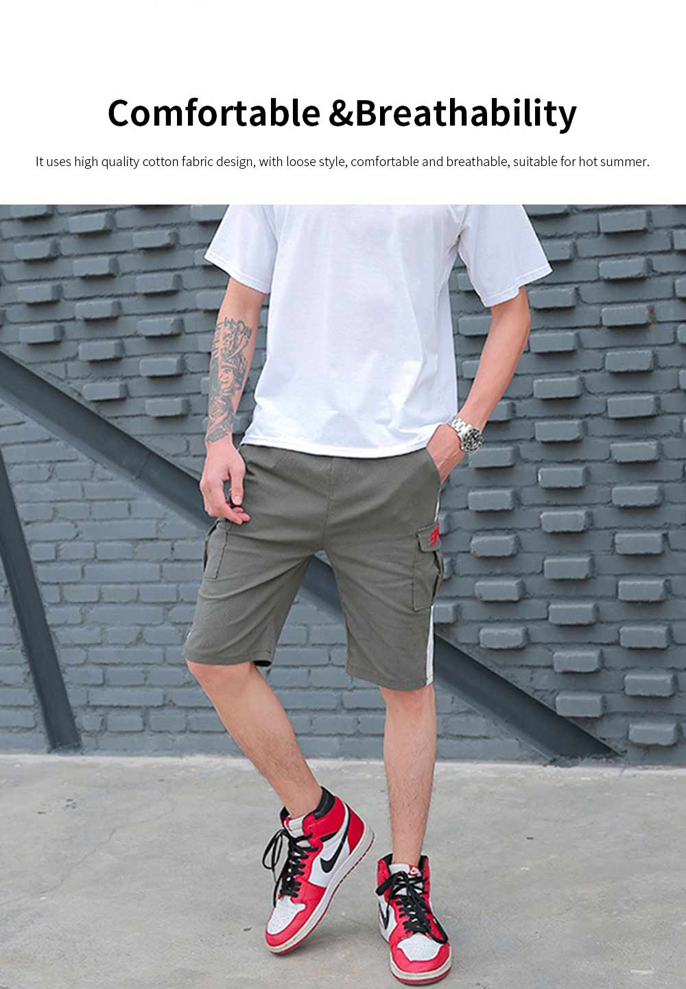 Men's Casual Overalls Shorts Students' Five-Point Shorts New Fashion Pocket Pants For Summer 3