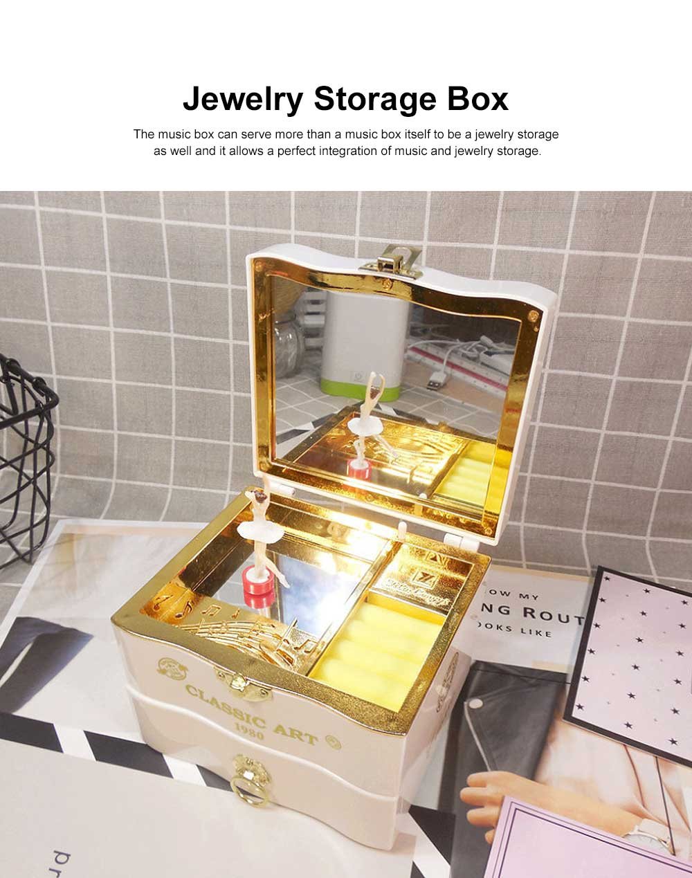 Classic Retro Style Dancing Girl Musical Box as Gift for Children or Girls, Clockwork Musical Box Creative Storage Box with Playing Music Jewelry 1