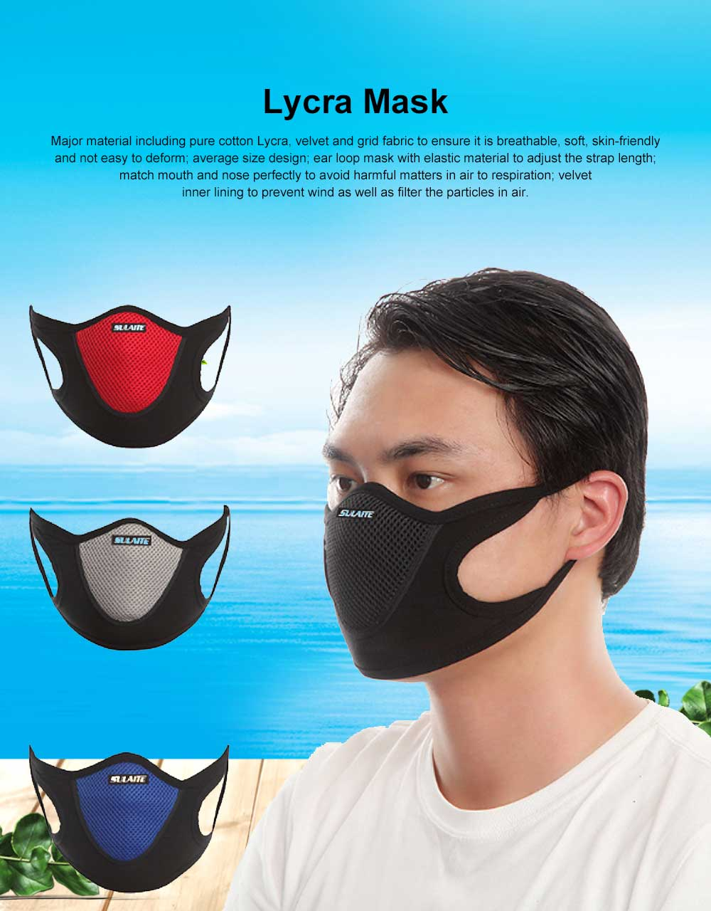 SULAITE Anti-dust & Anti-smog Masks for Outdoor Bicycle Riding Sand Prevention Protective Gauze Mask Breathable Comfortable Mouth-muffle PM2.5 Respirator 0