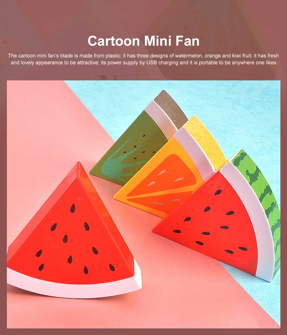 Tinkleo Watermelon USB Chargeable Mini Fan for Children's Gift, Creative Cartoon Portable Air Fan for Baby Present Mini USB Fan 0