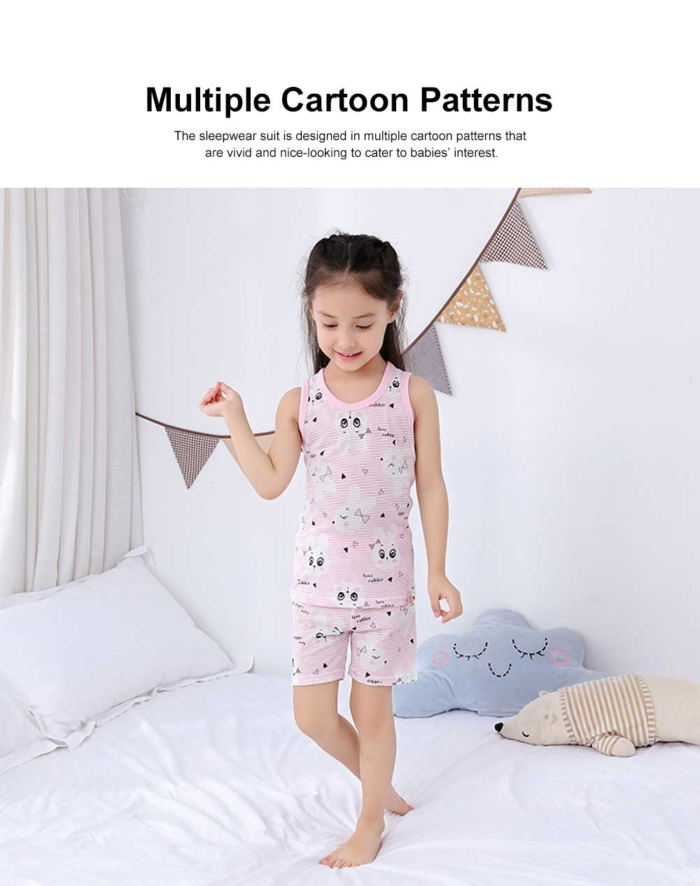 Pure Cotton Sleepwear Suit with Cartoon Patterns for Children, Summer Unisex Loungewear & Pajamas Short Sleeve Underwear Suit for Boys Girls 1