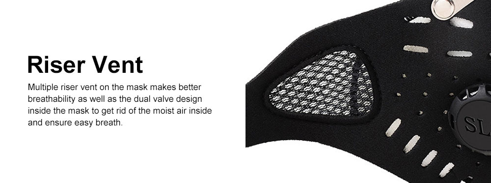 Activated Carbon Facial Mask for Outdoor Bicycle Riding Filter Element Replaceable Mouth-muffle Nose Clamp Design Anti-dust & Anti-smog Respirator 4