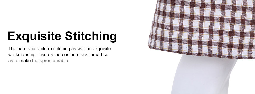 Embroidered Check Pattern Household Kitchen Apron Antifouling Waist Cloth Pinafore 4