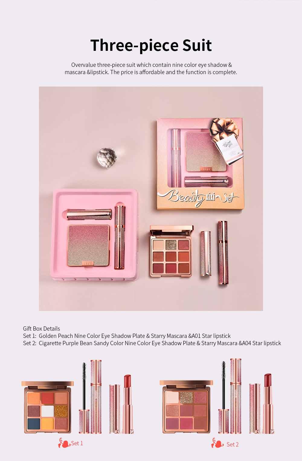 9 Color Eye Shadow & Mascara & Lipstick Set Beauty Makeup Birthday Cosmetic Gift Box Set 1