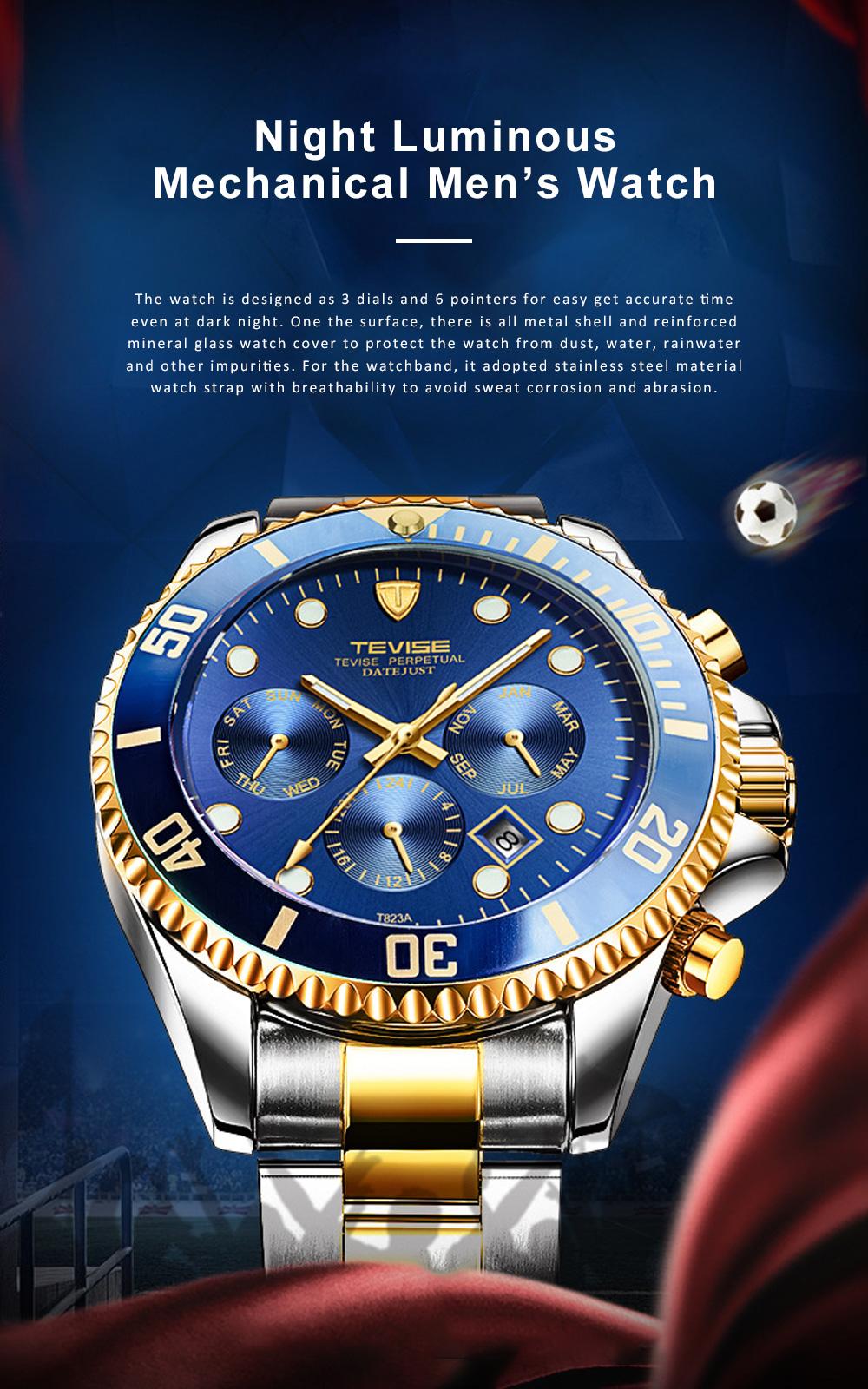 Night Luminous Mechanical Men's Watch Multifunctional Waterproof Wrist Watch for Businessman 0