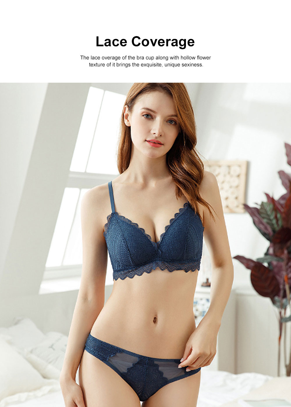 Triangular Cup Women Underwear French Style Thin Cotton Bra Set Without Steel Rims for Lady Comfortable Sexy Lace Brassiere 2
