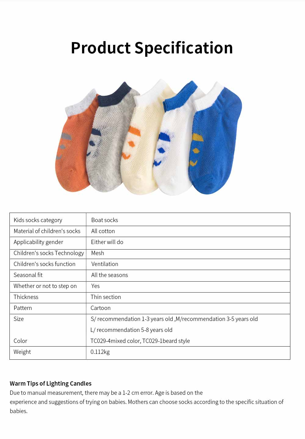 Children 's Thin Mesh Socks All-cotton Breathable Shallow mouth Cute Children's Socks For Summer 7