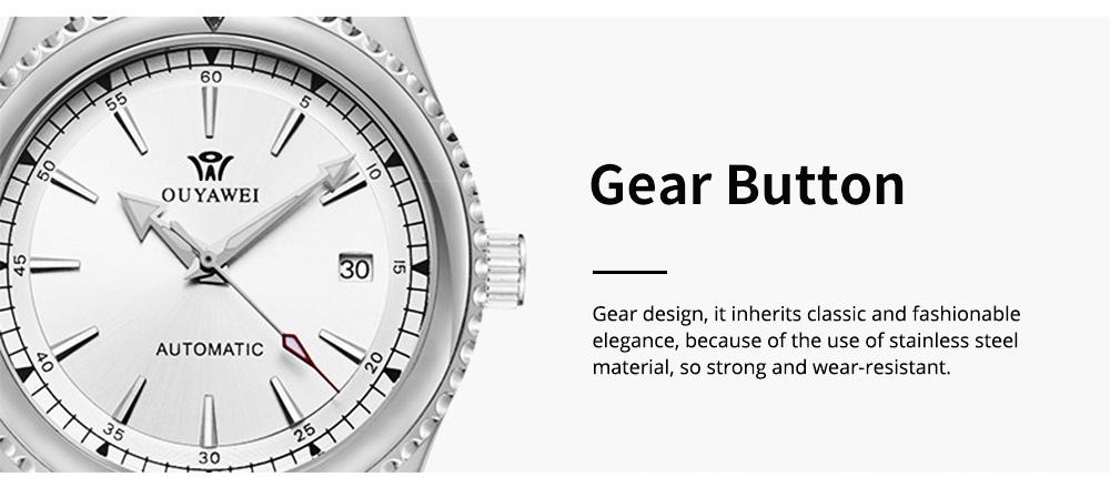 Man's Automatic Mechanical Watch Night Light Waterproof Business Hollow Steel Band Wristwatch, Swiss Wristwatch with Calendar 5