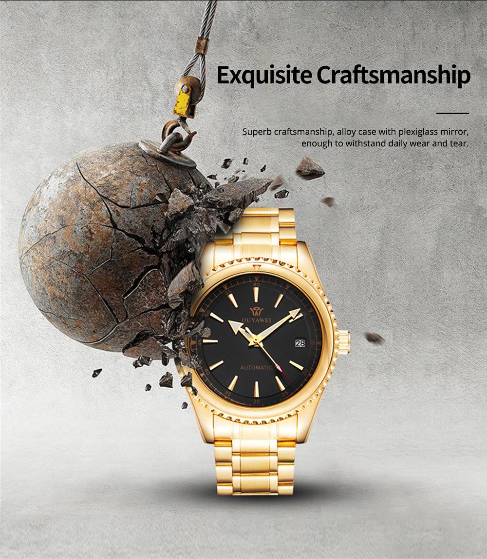 Man's Automatic Mechanical Watch Night Light Waterproof Business Hollow Steel Band Wristwatch, Swiss Wristwatch with Calendar 1