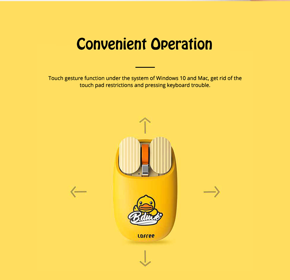 LOFREE Dual Mode Yellow Duck Bluetooth Mouse with 5-level Adjustable DPI Up to 3600, Yellow Duck Cartoon Wireless Mouse 2
