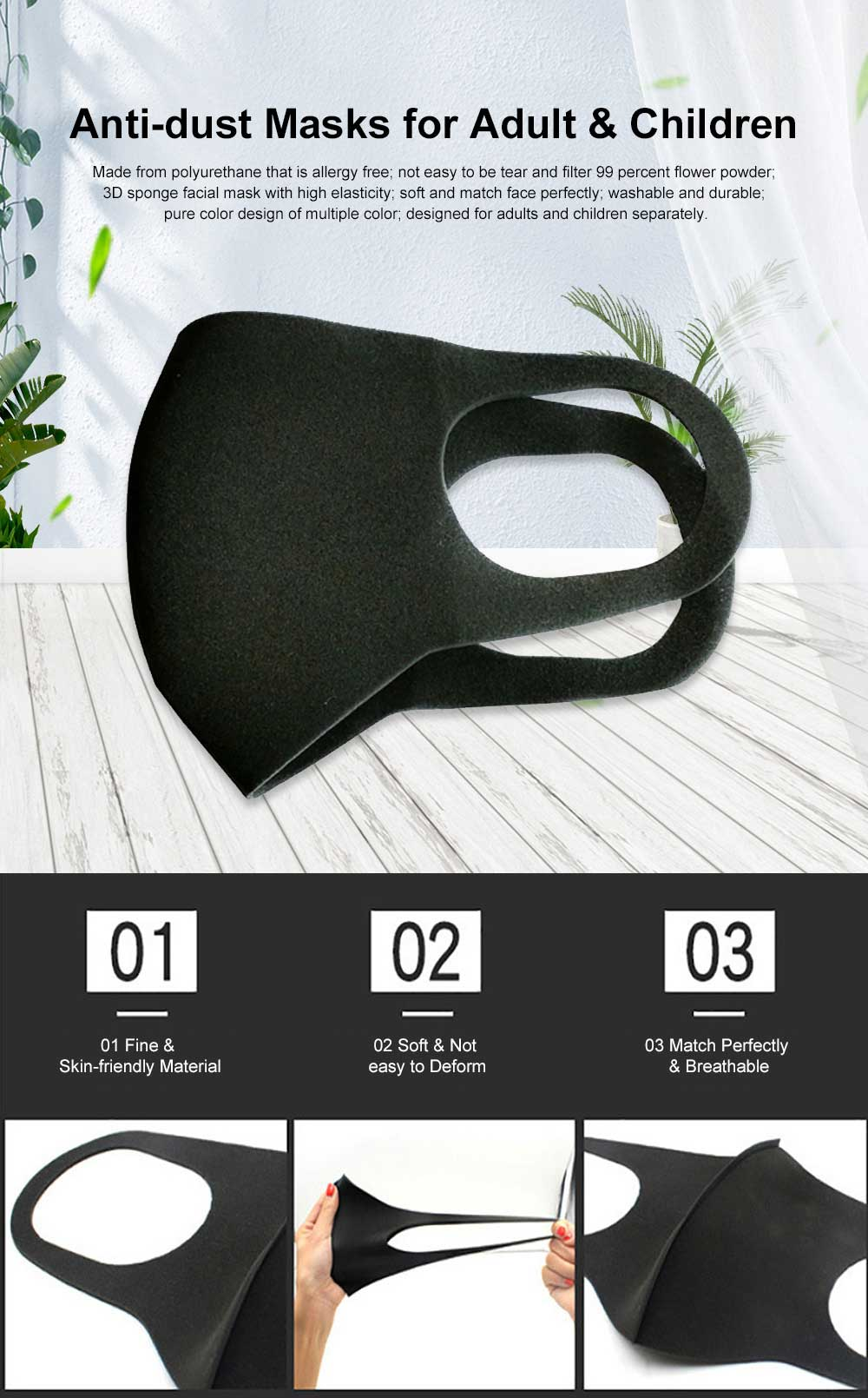 3 Pack Anti-smog Mask 2019 Celebrity Recommended Flower Powder Prevention Breathable Sponge Three-dimensional Mouth-muffle for Adult 0