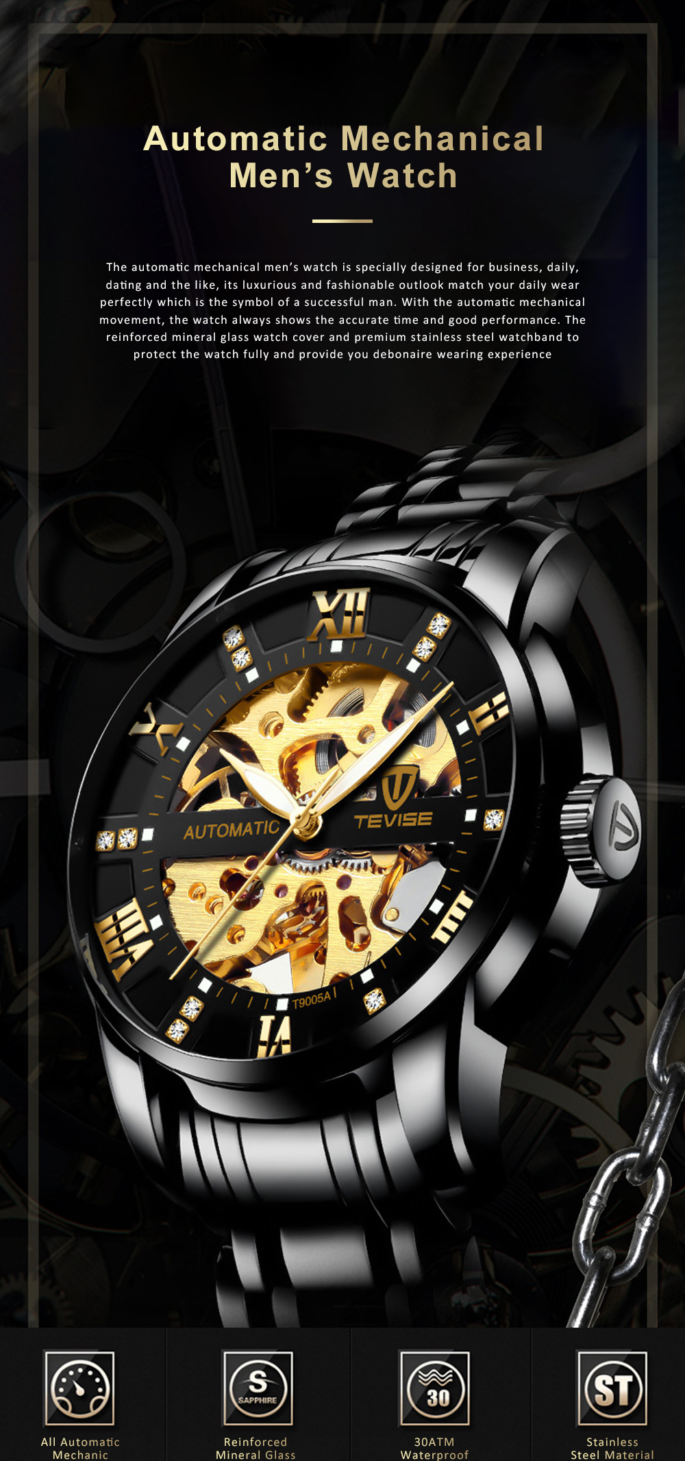 Automatic Mechanical Men's Watch for Business, Daily, Dating, Luxurious Fashion Businessman Watch with Waterproof 0