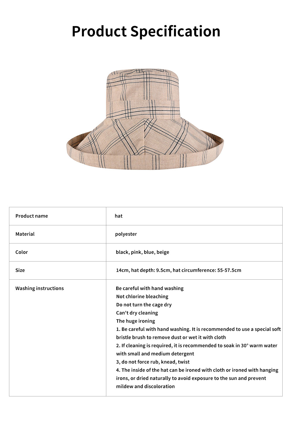 Lady Outdoor Sunhat Polyester Material Breathable Topee Detachable Stripe Hat for Women Beach Sun Block Outside Activities Cap 6