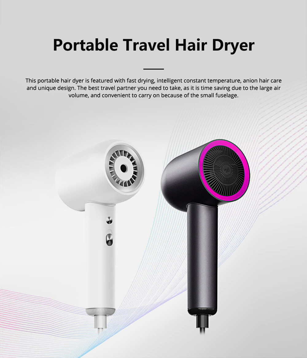 Tinkleo Intelligent Portable Travel Hair Dryer Negative ion Quick Drying Hair Care and Modeling 3 IN 1 Handheld Hair Dryer 0