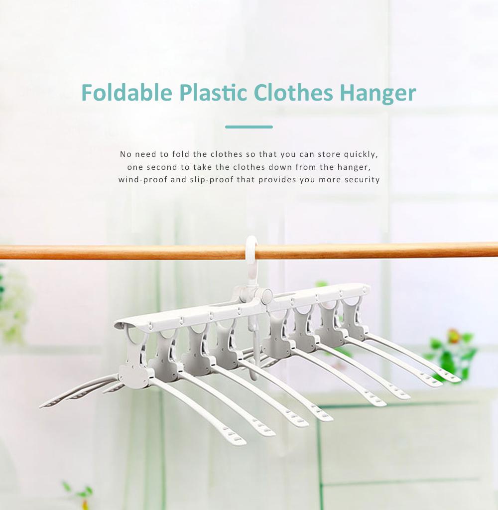 3 Pack Foldable Plastic Clothes Hanger, Multi-functional Flexible Clothes Rack Storage Set Anti-slip Wind-proof 0