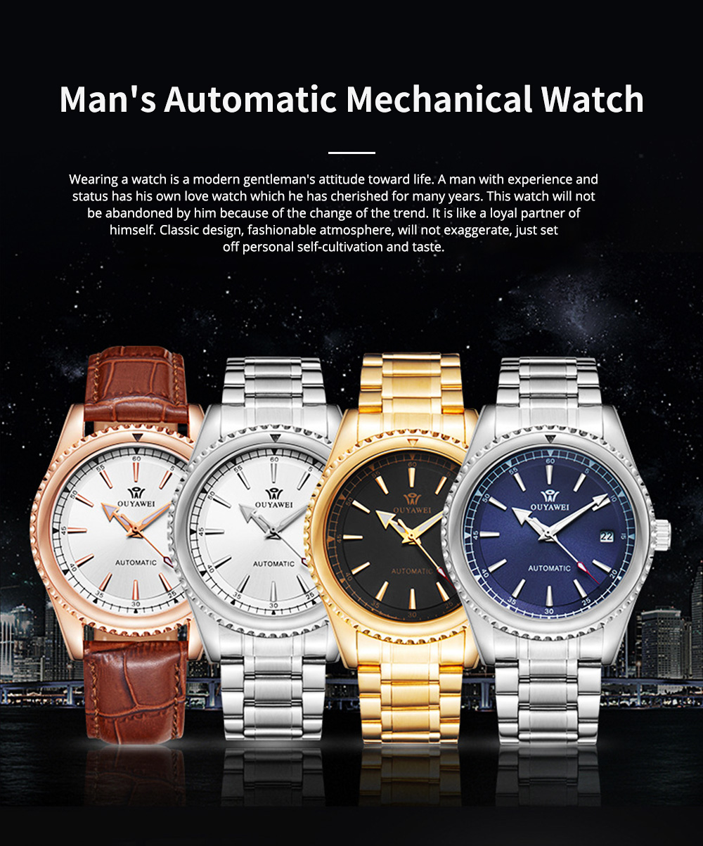 Man's Automatic Mechanical Watch Night Light Waterproof Business Hollow Steel Band Wristwatch, Swiss Wristwatch with Calendar 0